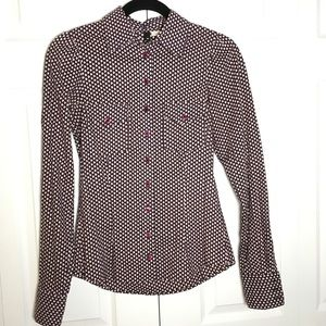 NWOT H&M Abstract Polka Purple Button Down